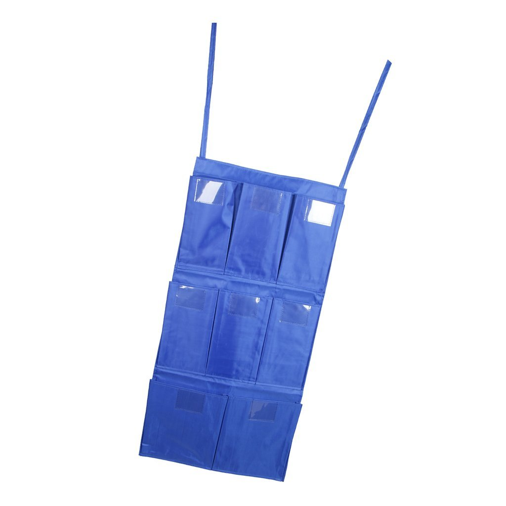 Baoblaze Janitorial Housekeeping Cleaning Trolley Cart Hanging Bag Holder Organizer 8 Pockets for Easy Classification Blue