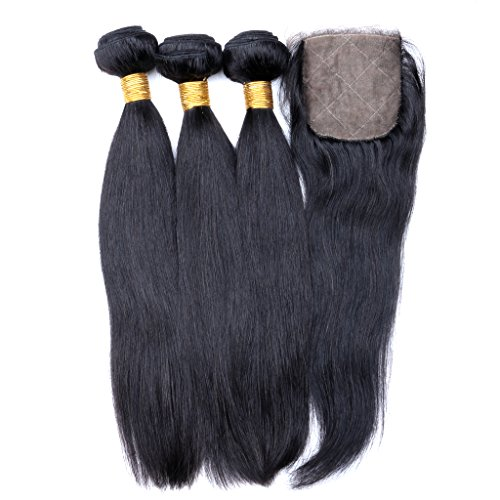 Joyme Beauty 4x4 Straight Silk Base Top Closure with Bundles Brazilian Virgin Human Hair 3/4 Extensions with Middle Part Closure 14 16 16 + (433 Silk)