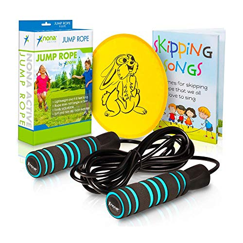 Adjustable Jump Rope for Safe and Easy Jumping - for Kids and Adults- Anti-Slip Handles and No Twisting - Plus Skipping Songbook and a Flying Disc - 3 Bonuses Included