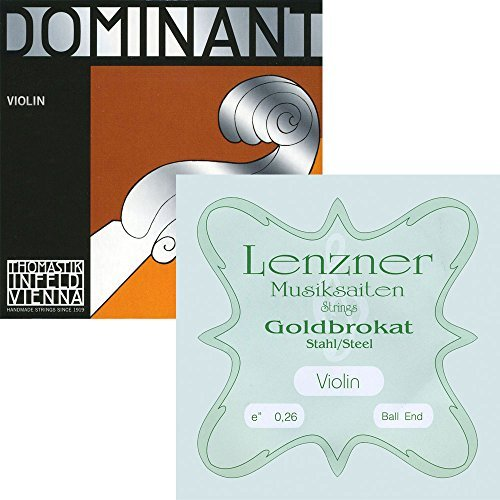 Thomastik Dominant Violin A, D, G Strings with Goldbrokat E (Ball) - 4/4 Size - Medium by lenzner and thomastik (Image #1)