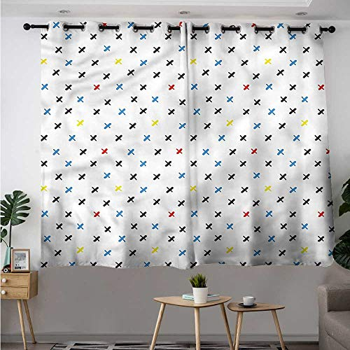 Kids Grommet Window Curtain Colorful Figures Doodle Style Room Darkening Thermal W 63