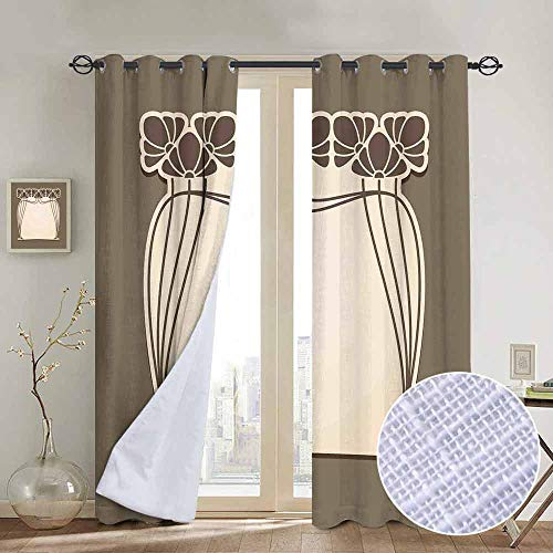 - NUOMANAN Window Blackout Curtains Art Nouveau,Flower Bouquets Forming an Arch Vintage Style Feminine Old Fashioned,Cream Umber Brown,for Room Darkening Panels for Living Room, Bedroom 54