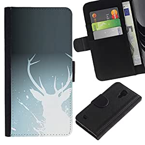 NEECELL GIFT forCITY // Billetera de cuero Caso Cubierta de protección Carcasa / Leather Wallet Case for Samsung Galaxy S4 IV I9500 // White Deer