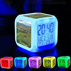 Alarm Clock 7 LED Color Changing Wake Up Bedroom with Data and Temperature Display (Changable Color) Customize the pattern-017.a landscape of spruce trees, rolling hills and distant mountains