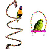 Bwogue Colorful Bird Rope Perch & Swing, Natural Dye Rope Parrot Chewing Toy Sturdy Bird Swing for Bungees, Parakeets, Cockatiels and Macaws (59 in)