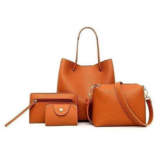 Amazon.com: 2019 New Women Bags Set 4 Pcs PU Leather Handbag ...