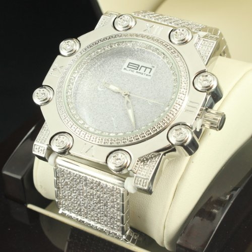 Techno Hip Hop Iced Out All White Gold Finish Clear Lab Diamond Jojino Wristwatch by Diamond & Co