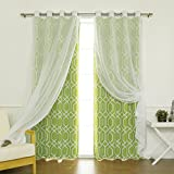 Cheap Best Home Fashion Mix & Match Voile Sheer & Geometric Trellis Room Darkening Curtain Set – Stainless Steel Nickel Grommet Top – Avocado – 52″W x 84″L – (2 Curtains and 2 Sheer curtains)