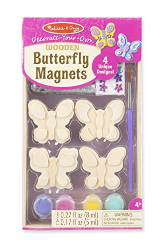Melissa & Doug Decorate-Your-Own Wooden Butterfly Magnets Craft Kit (Art Supplies Easter Gift)