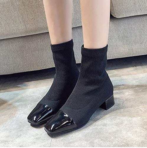 Donna Knit Da 40 Quadrata Fmwlst Solidi Scarpe 34 Stivali Punta Inverno Caldo Stivaletti Antiscivolo XqTWCzBaw