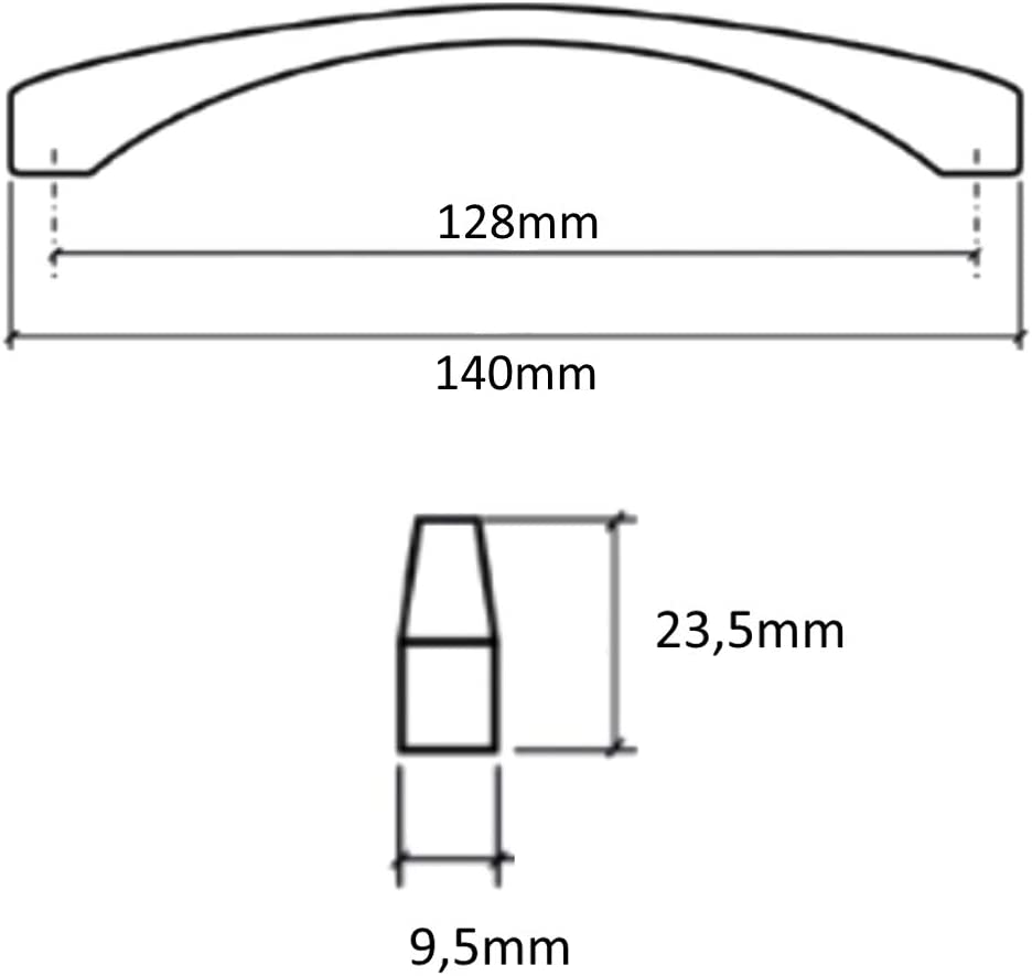 AERZETIX 6X poign/ée de tiroir Placard Porte Meuble Armoire Vardar Noir 128mm C41607