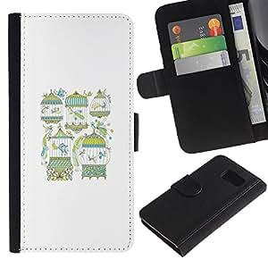 Paccase / Billetera de Cuero Caso del tirón Titular de la tarjeta Carcasa Funda para - Metaphor Bird Minimalist White Meaning - Samsung Galaxy S6 SM-G920