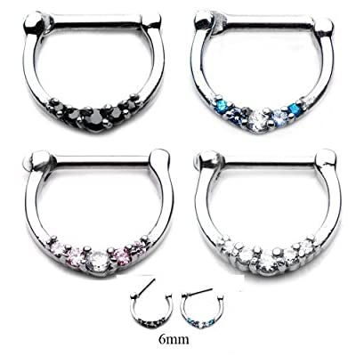 316l Surgical Steel Septum Clicker Nose Ring Hoop Cz Ring 16g 6mm Shining Five-gems 316l Surgical Steel Septum Clicker Ring(sold Individually) -6mm so Tiny