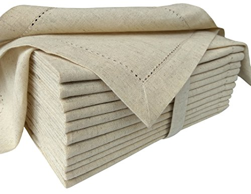 Cloth Napkin in Cotton Flax by Flax with Hemstitched, Natural Color, Oversized 20x20, Wedding Napkins,Cocktails Napkins,Mitered Corners & Generous Hem, Machine Washable Dinner Napkins Set of 12 by Cotton Clinic (Image #1)