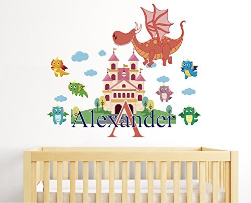 Dragons Theme - Clouds Castle Disneyland Boy Girl Mural - Baby's Mural Room Vinyl Sticker Wall Decal (Wide 40