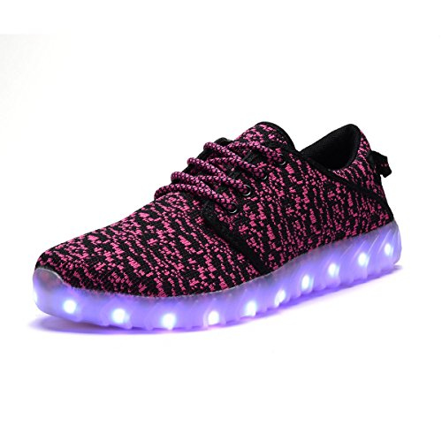 COODO CD2001 7-Color-Lights USB Charging Women's & Youth's LED Shoes Light up Sneakers BLACK/FUCHSIA-7