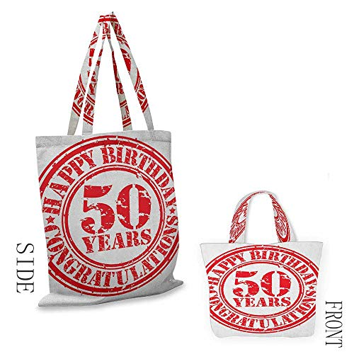 Tote bag BirthdayGrungy Display with Aged Rubber Stamp for Fifty Years Old Congratulation Vermilion White18
