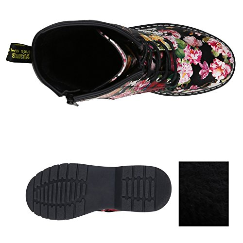 Stiefelparadies Damen Outdoor Worker Boots Prints Warm Gefütterte Stiefeletten Flandell Schwarz Prints