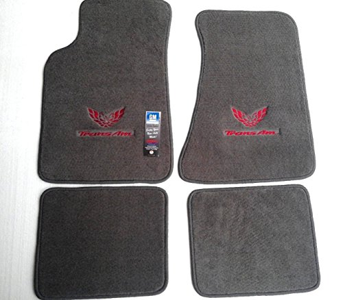 Pontiac Firebird Trans AM 4 Piece Custom Fit Gray Carpet Floor Mat Set with GM Licensed Firebird/Trans AM Logo on Front Mats - Fits 1982-2002 (Firebird Car Mats compare prices)