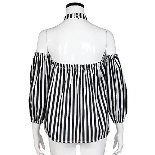 Tongshi Moda del hombro de la camiseta floja ocasional remata la blusa negro