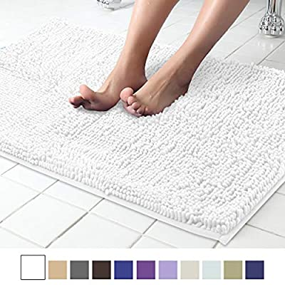 "ITSOFT Non Slip Shaggy Chenille Soft Microfibers Bath Mat for Bathroom Rug Water Absorbent Carpet, Machine Washable, 21 x 34 Inches White - EXTRA SOFTNESS: Protects your feet from cold bathroom floor, its special microfiber construction offers you extra softness, each chenille pile is about 1"" long, making your feet surrounded by thousands of individual microfiber shags and feels like sinking into a deep cotton pile while you step on it. FIBER-LOCKING: Unique fiber-locking technique, say goodbye to horrible fibre-dropping! This mat is composed of 3 layers: fabric layer, middle sponge layer and bottom anti-skid layer. Can withstand from hundreds of washing, won't fall apart. ANTI-SLIP: Skid-resistant bottom is made of high quality PVC material. This anti-skid backing helps keep mat firmly in place, that it won't slip or slide to keep you more safe and cozy. Place rug on dry smooth floor only. - bathroom-linens, bathroom, bath-mats - 51bPrDdth%2BL. SS400  -"