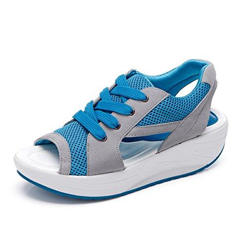 Damen Ademend Sandalen, Sneakers Loopschoenen Schoenen (37, Blauw)