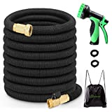 TIPEYE 50FT Expandable Garden Hose with 10 Functions Spray Nozzle 2017 Newest Stronger Double-Layer Natural Latex Inner Tube Prevent Leaking 3/4