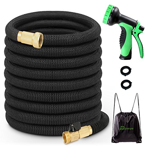 TIPEYE 50FT Expandable Garden Hose with 10 Functions Spray Nozzle 2017 Newest Stronger Double-Layer Natural latex Inner Tube Prevent Leaking 3/4″ Expanding Solid Brass Water Hose Pipe