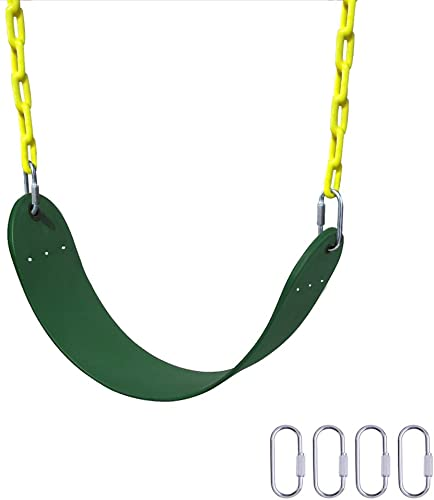 Gimilife Heavy Duty Swing Seat, 66 Chain Plastic Coated Playground Swing Set Accessories Replacement with 4 Upgraded Hooks for Child Green