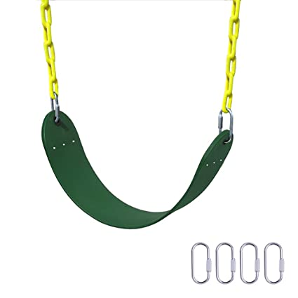 Gimilife Heavy Duty Swing Seat 66 Chain Plastic Coated Playground Swing Set Accessories Replacement With 4 Upgraded Hooks For Child Green