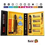 Kaisi Repair Kit Magnetic Screwdriver Set Precision Tool Kit with Portable Box for Cell Phone, Tablets, Computers, Laptops, Electronic and Precision Devices Repair Pry Opening Tool Set, 38-Piece