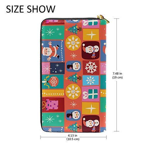 Wallet And Around Christmas Clutch TIZORAX Handbags Purses Womens Organizer Merry Zip vTUq1Y
