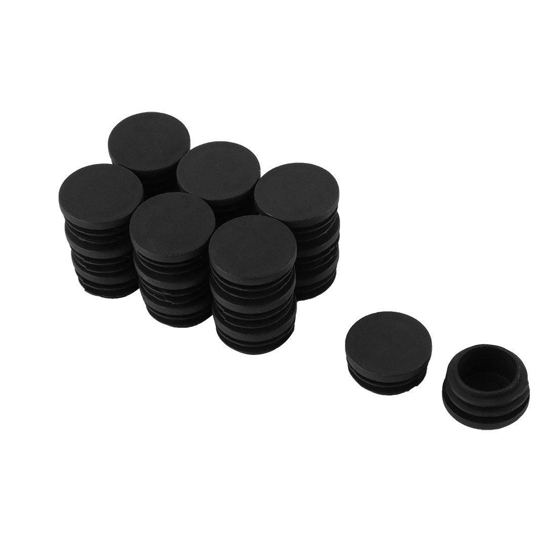 uxcell Plastic Family Round Chair Legs Cap Tube Insert 30mm Diameter 20 Pcs Black a15122100ux0441