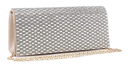 Beige Evening Diamante Design Purse London and Bag Encrusted Wedding Clutch 1 Mirror Womens Mabel 0OSHqH