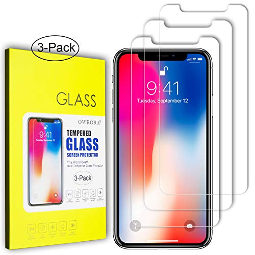 iPhone XR Screen Protector,OWRORA 2.5D Edge Tempered Glass Anti-Scratch Case Friendly Siania Retail Package for iPhone XR 6.1-3 Pack
