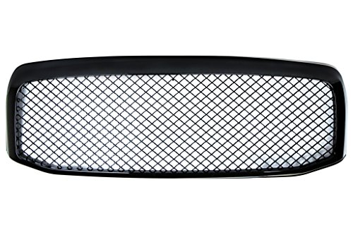 06-08 Dodge Ram Glossy Black Front Grille Badgeless Mesh Style OEM Replacement 07