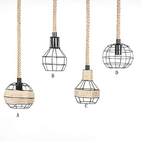 Retro cáñamo cuerda lámpara colgante vintage industriales creativos iluminación de hierro metal decorativa Lámpara de techo rústico Diseño Lámpara de ...