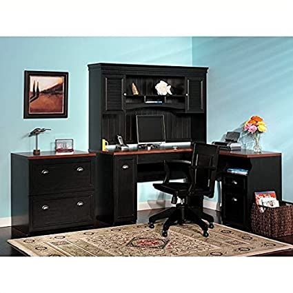 Bush Furniture Fairview L Shaped Wood Home Office Set In Black