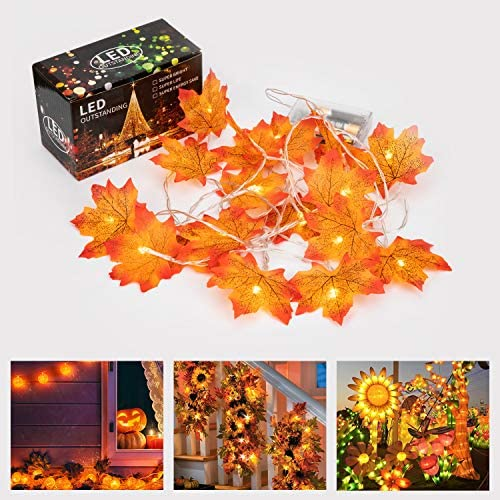VIGLT Fall Lights String Decoraions Harvest Decor 2 Pcs 20 LED 10 Feet Fall Garland Halloween Thanksgiving Christmas Decor Light Battery Powered Maple Leaf String Lights Not Included Battery