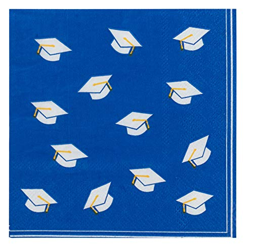 Cocktail Napkins - 100-Pack Graduation Caps Disposable Paper Napkins, 3-Ply, Graduation Party Decoration Supplies, Blue, Folded 5 x 5 Inches