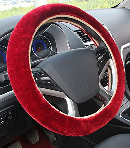 baiou Universal 3Pcs Set Plush Steering Wheel Cover for Women Faux Wool Hand Brake Cover/&Gear Cover Set Warm Winter car Styling Interior Wine red