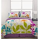 Reversible Teen Girls Bedding Sheet Set, Queen size 7pcs Comforter set, Blue, Purple, Multi color, Green Giant Floral Bed in a Bag & Ln trade mark home-made head massage Comb (Queen)