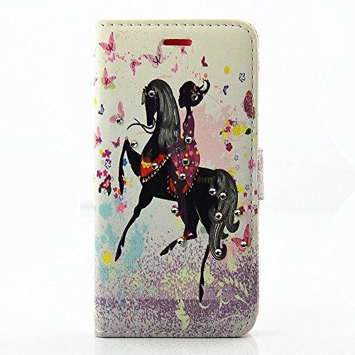 Apple iPhone 7Sac étui Cover Case de protection équitation strass multicolore decui Multicolore Housse en simili cuir