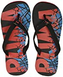 Puma Men's Pop Art II Puma Black, High Risk Red and Hawaiian Ocean Flip Flops Thong Sandals - 11 UK/India (46 EU)(36652704)