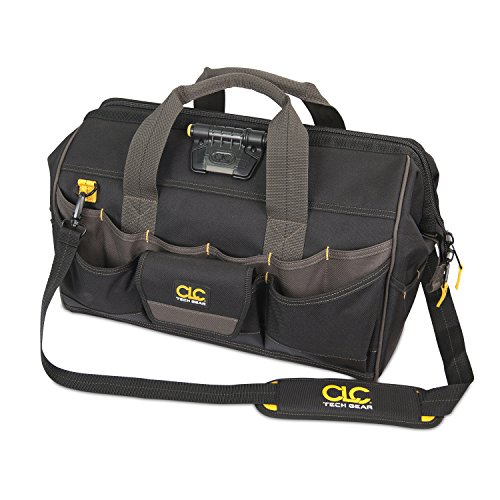 CLC Custom Leathercraft L232 18-Inch 45 Pocket Tech Gear Lighted Big Mouth Tool Bag by Custom Leathercraft