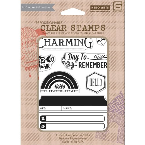 Hero Arts Basic Grey Mint Julep Clear Stamps Charming 7 Images