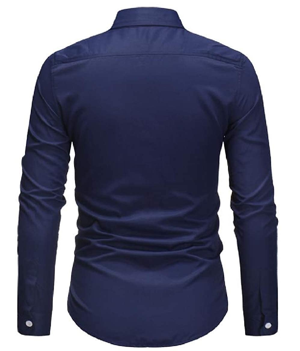 SayahMen Long-Sleeve Buttoned Open Front Spring//Fall Fitted Bussiness Shirt