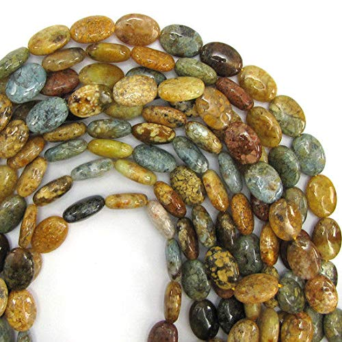 - 14mm Natural Ocean Jasper Flat Oval beads 15.5'' Strand