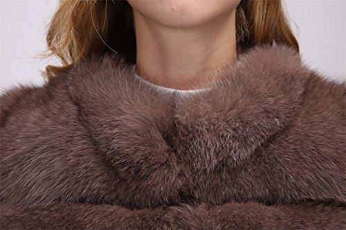 sintética ' Women Darkbrown FOLOBE Abrigo Chaqueta Caliente de Piel Invierno 5BqPFwRx0