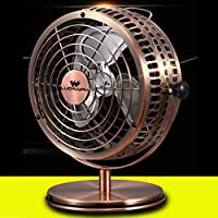 Loghot USB Small Desktop Electric Fan for Office and Dormitory with Full Metal (Golden, 6 Inches)